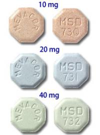 Mevacor 10mg, 20mg, 40mg